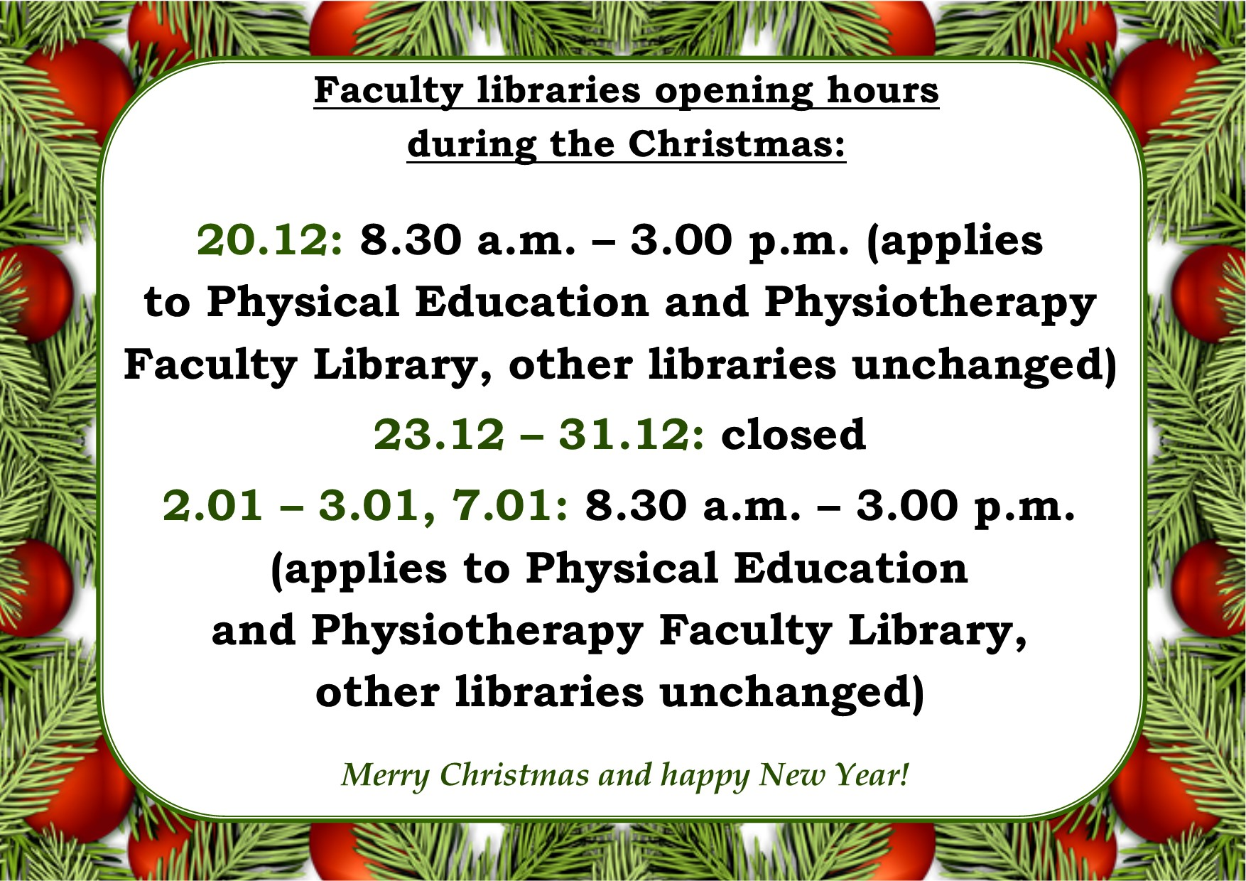 Faculty libraries christmas 2019